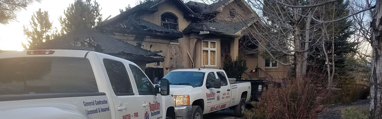 House in Colorado being restored from fire damage by Rapid Dry Colorado.